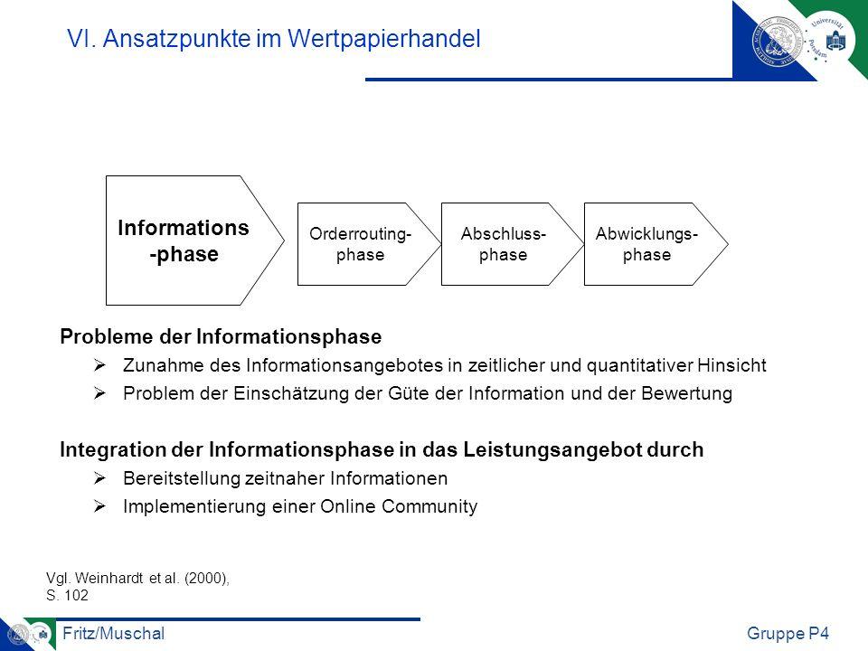 Fritz/MuschalGruppe P4 VI. Ansatzpunkte im Wertpapierhandel Probleme der Informationsphase Zunahme des Informationsangebotes in zeitlicher und quantit