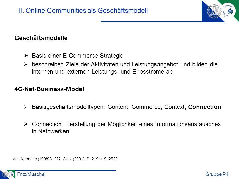 Fritz/MuschalGruppe P4 II. Online Communities als Geschäftsmodell Geschäftsmodelle Basis einer E-Commerce Strategie beschreiben Ziele der Aktivitäten
