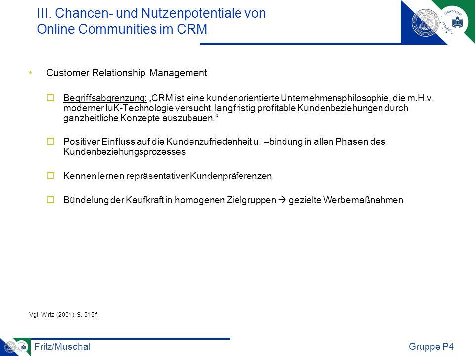 Fritz/MuschalGruppe P4 Customer Relationship Management Begriffsabgrenzung: CRM ist eine kundenorientierte Unternehmensphilosophie, die m.H.v. moderne