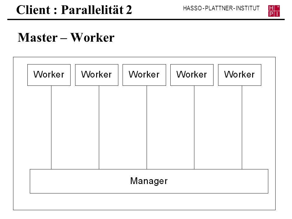 HASSO - PLATTNER - INSTITUT Client : Parallelität 2 Master – Worker