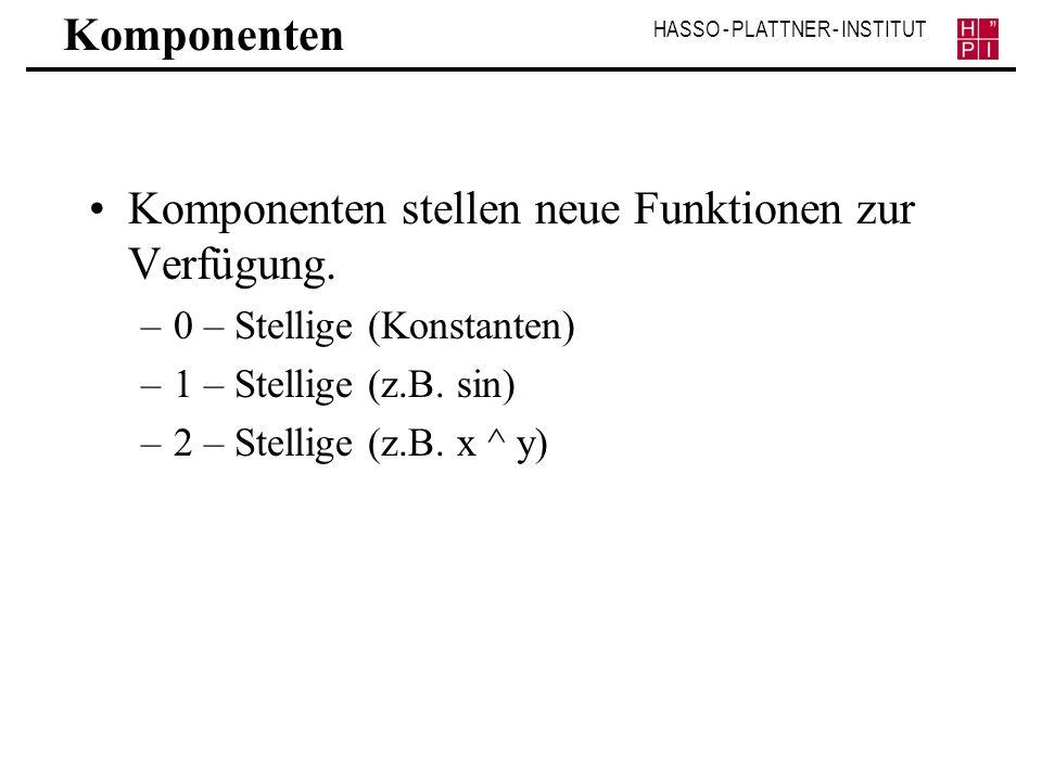 HASSO - PLATTNER - INSTITUT Komponenten Komponenten stellen neue Funktionen zur Verfügung. –0 – Stellige (Konstanten) –1 – Stellige (z.B. sin) –2 – St