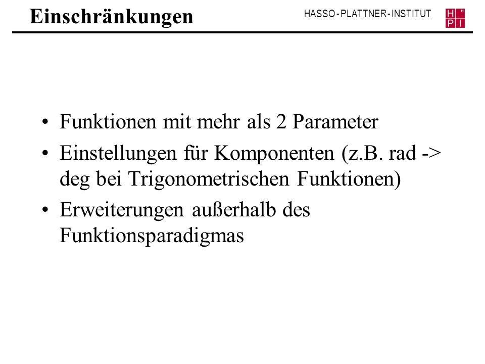 HASSO - PLATTNER - INSTITUT Einschränkungen Funktionen mit mehr als 2 Parameter Einstellungen für Komponenten (z.B. rad -> deg bei Trigonometrischen F