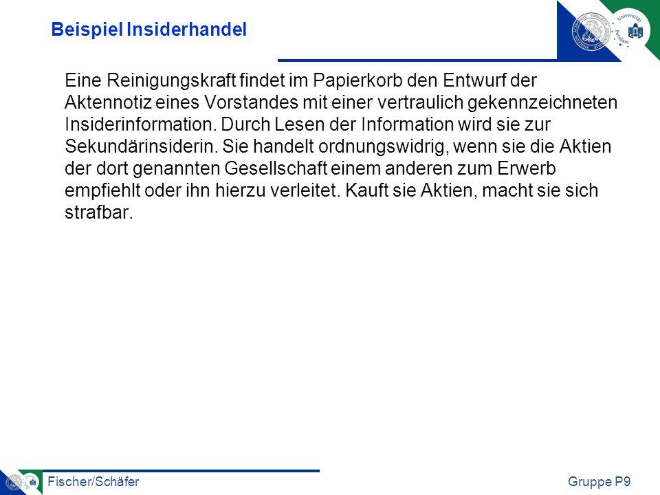 Fischer/SchäferGruppe P9 Beispiel Insiderhandel Eine Reinigungskraft findet im Papierkorb den Entwurf der Aktennotiz eines Vorstandes mit einer vertra