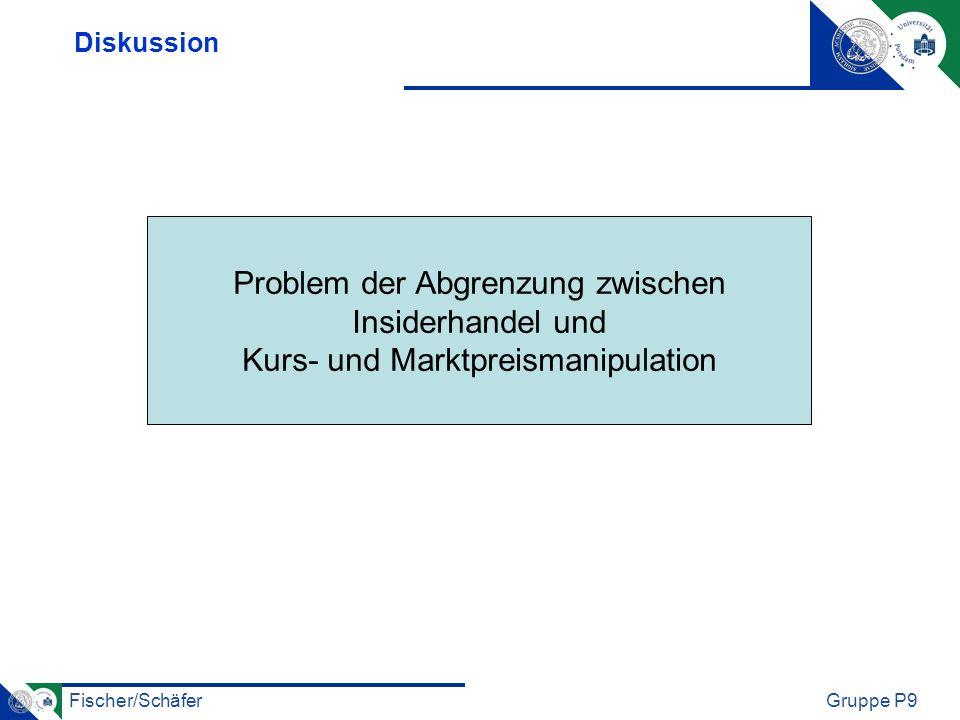 Fischer/SchäferGruppe P9 Diskussion Problem der Abgrenzung zwischen Insiderhandel und Kurs- und Marktpreismanipulation