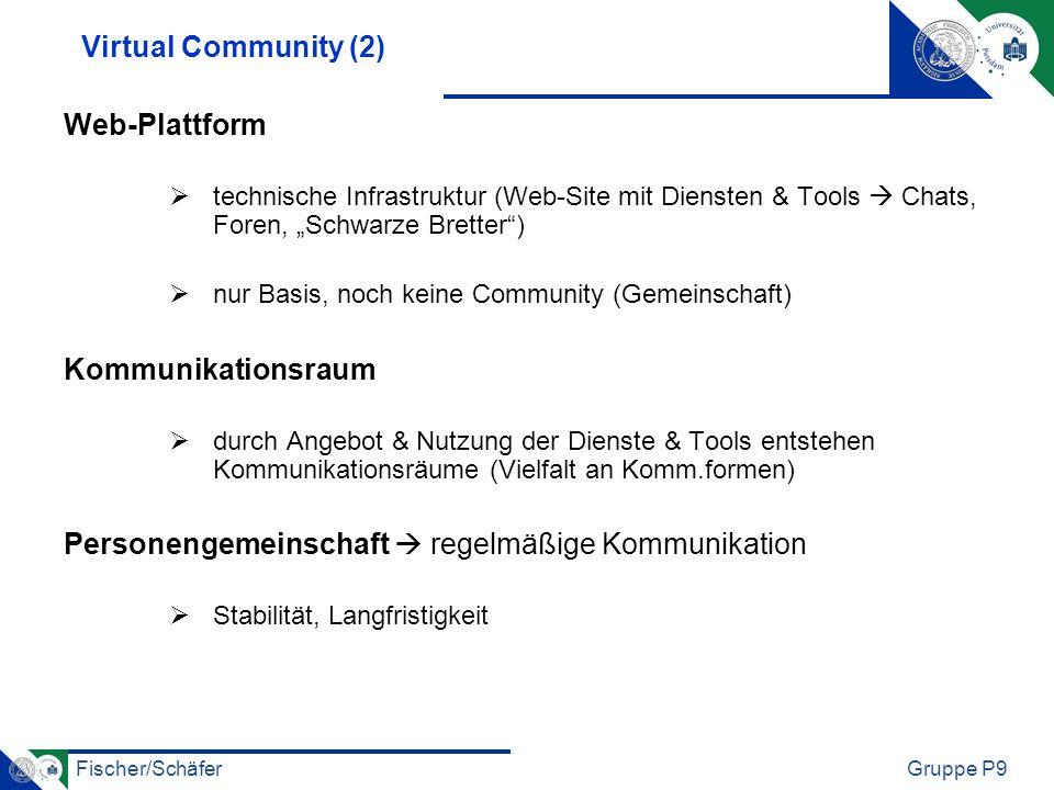 Fischer/SchäferGruppe P9 Virtual Community (2) Web-Plattform technische Infrastruktur (Web-Site mit Diensten & Tools Chats, Foren, Schwarze Bretter) n