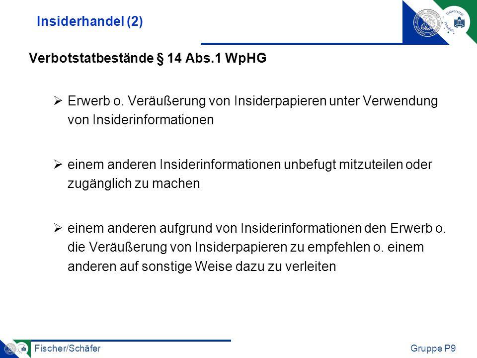 Fischer/SchäferGruppe P9 Insiderhandel (2) Verbotstatbestände § 14 Abs.1 WpHG Erwerb o. Veräußerung von Insiderpapieren unter Verwendung von Insiderin