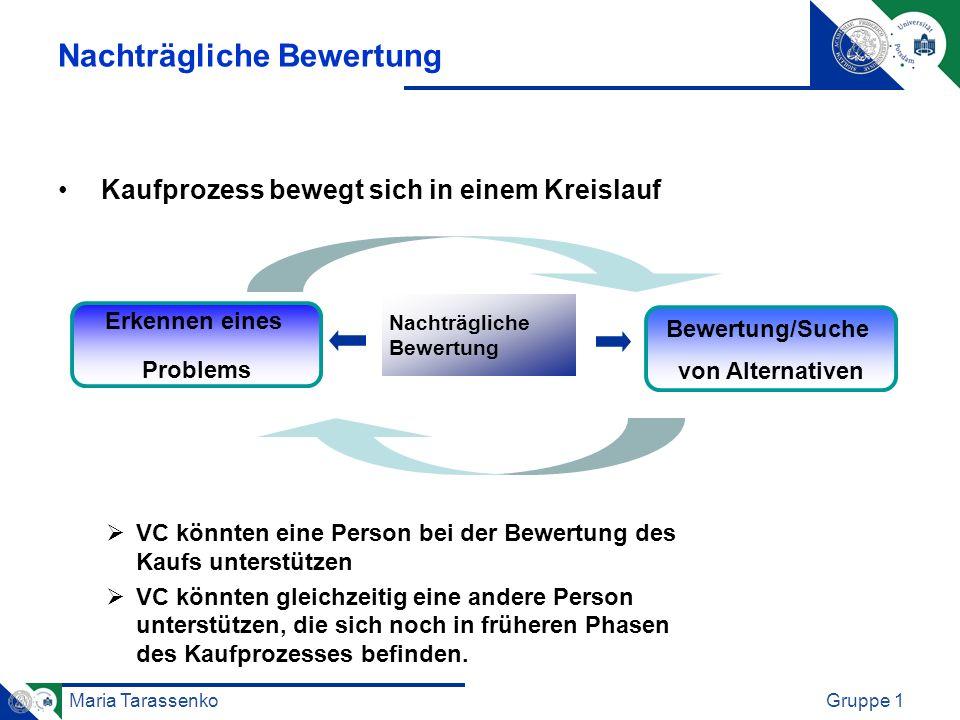 Maria TarassenkoGruppe 1 Nachträgliche Bewertung Kaufprozess bewegt sich in einem Kreislauf VC könnten eine Person bei der Bewertung des Kaufs unterst