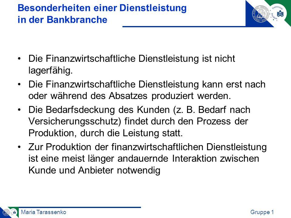 Maria TarassenkoGruppe 1 Besonderheiten einer Dienstleistung in der Bankbranche Die Finanzwirtschaftliche Dienstleistung ist nicht lagerfähig. Die Fin