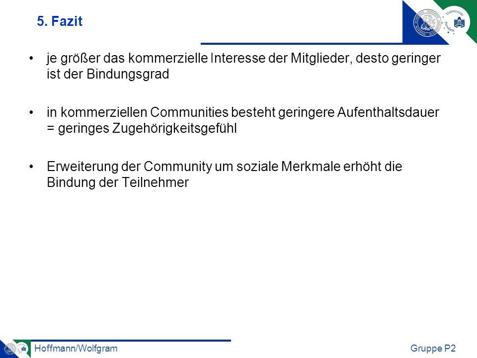 Hoffmann/WolfgramGruppe P2 5. Fazit je größer das kommerzielle Interesse der Mitglieder, desto geringer ist der Bindungsgrad in kommerziellen Communit