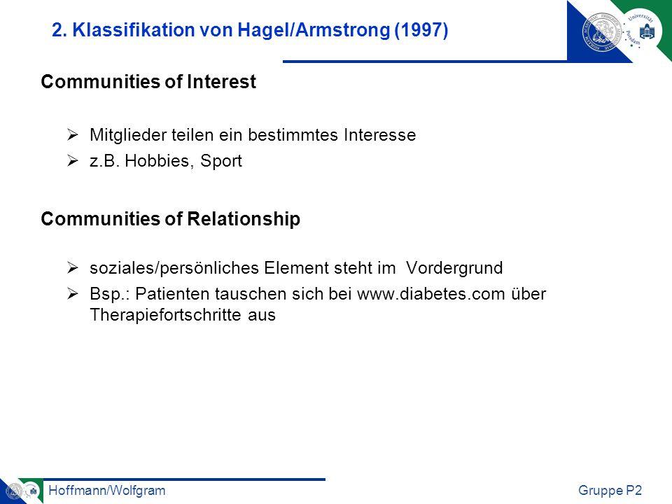 Hoffmann/WolfgramGruppe P2 2. Klassifikation von Hagel/Armstrong (1997) Communities of Interest Mitglieder teilen ein bestimmtes Interesse z.B. Hobbie