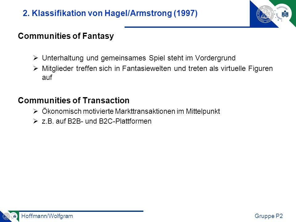 Hoffmann/WolfgramGruppe P2 2. Klassifikation von Hagel/Armstrong (1997) Communities of Fantasy Unterhaltung und gemeinsames Spiel steht im Vordergrund