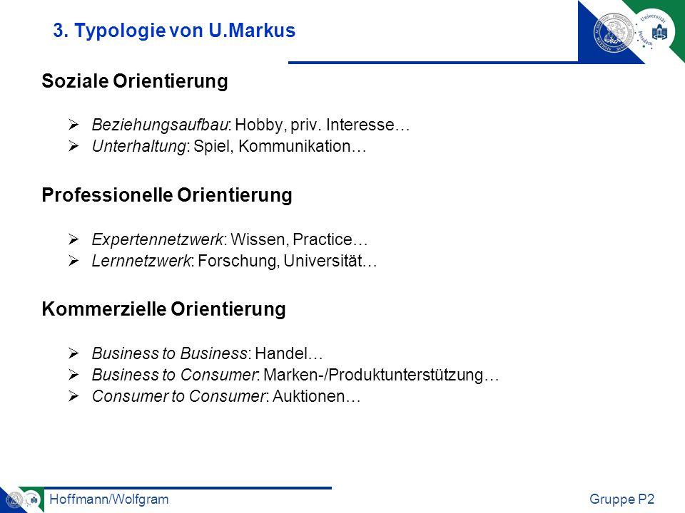 Hoffmann/WolfgramGruppe P2 3. Typologie von U.Markus Soziale Orientierung Beziehungsaufbau: Hobby, priv. Interesse… Unterhaltung: Spiel, Kommunikation