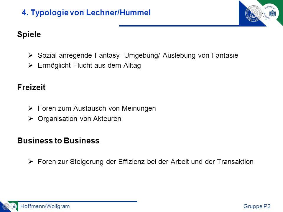 Hoffmann/WolfgramGruppe P2 4. Typologie von Lechner/Hummel Spiele Sozial anregende Fantasy- Umgebung/ Auslebung von Fantasie Ermöglicht Flucht aus dem