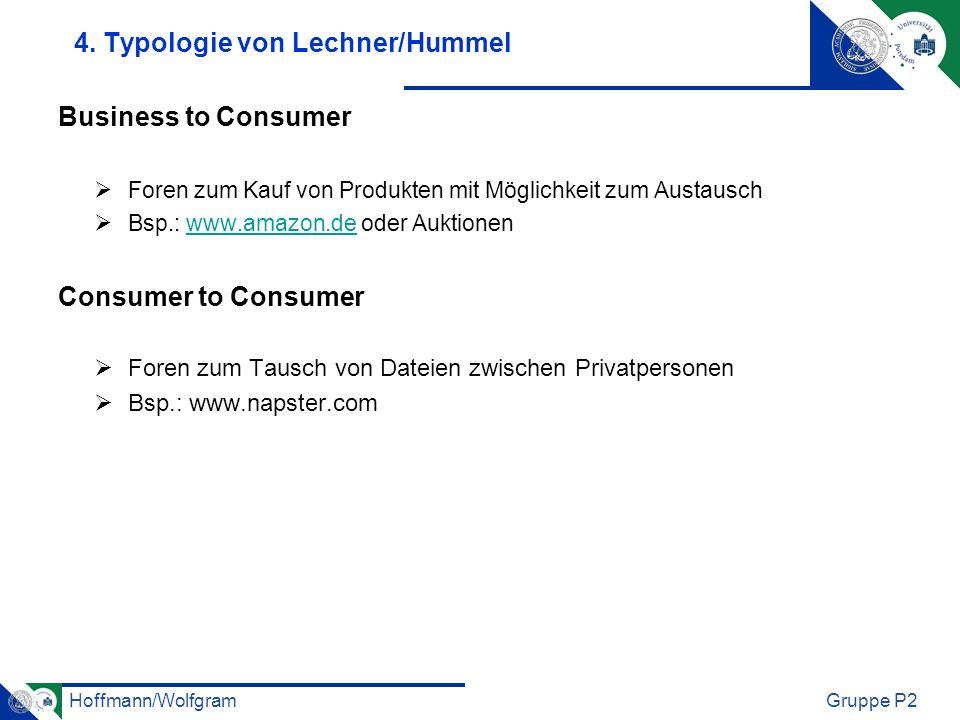 Hoffmann/WolfgramGruppe P2 4. Typologie von Lechner/Hummel Business to Consumer Foren zum Kauf von Produkten mit Möglichkeit zum Austausch Bsp.: www.a