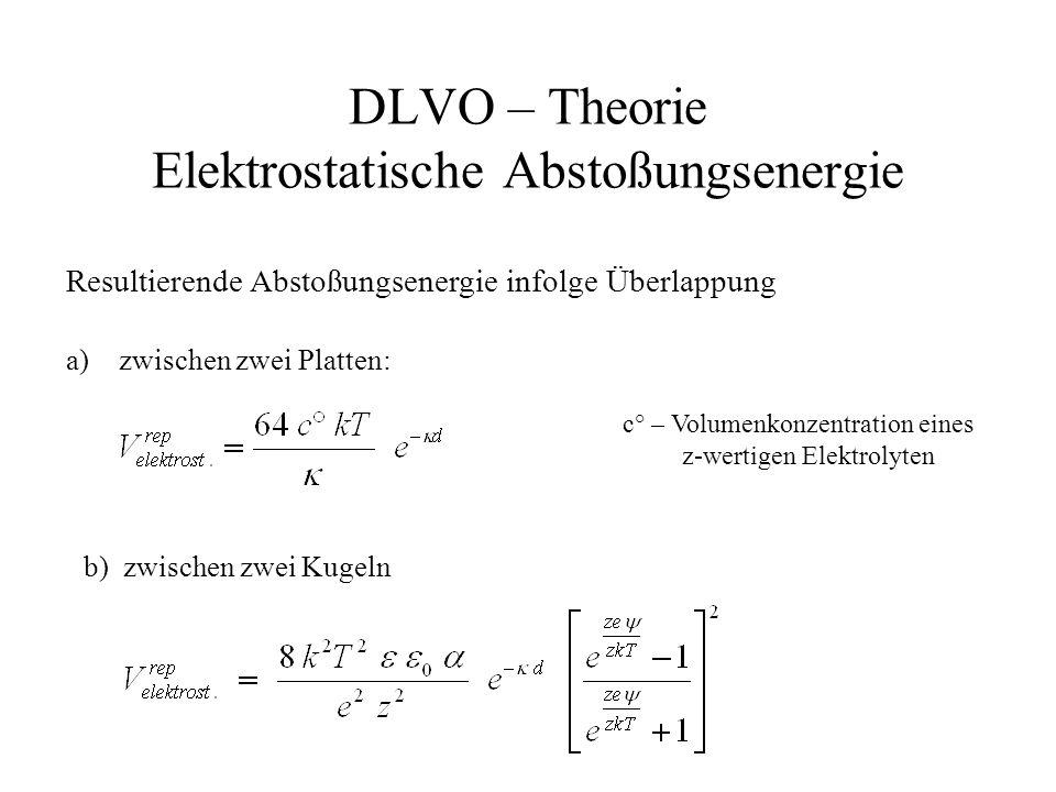DLVO – Theorie Elektrostatische Abstoßungsenergie Resultierende Abstoßungsenergie infolge Überlappung a)zwischen zwei Platten: c° – Volumenkonzentration eines z-wertigen Elektrolyten b) zwischen zwei Kugeln