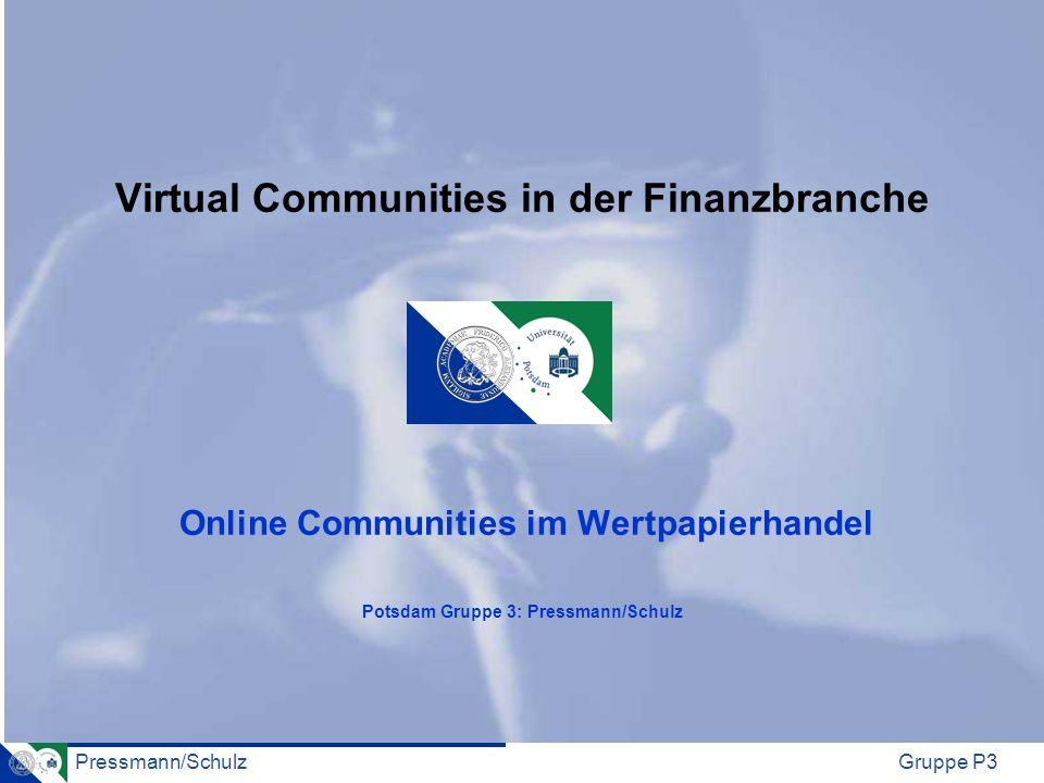Pressmann/SchulzGruppe P3 Virtual Communities in der Finanzbranche Online Communities im Wertpapierhandel Potsdam Gruppe 3: Pressmann/Schulz