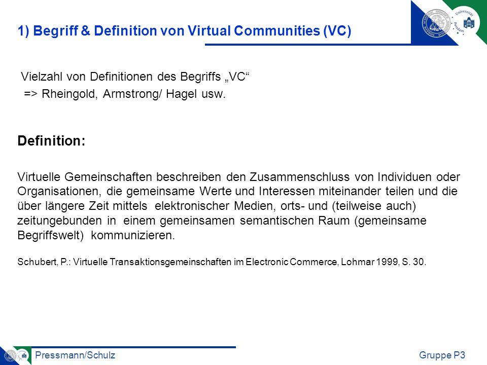 Pressmann/SchulzGruppe P3 Warum nimmt man an VC teil: 1) Zielgerichtete Werte 2) Selbstfindungswerte 3) Interpersonelle Verbindungen 4) Soziale Bestätigung 5) Unterhaltungswert 2) Teilnahmemotive an VC
