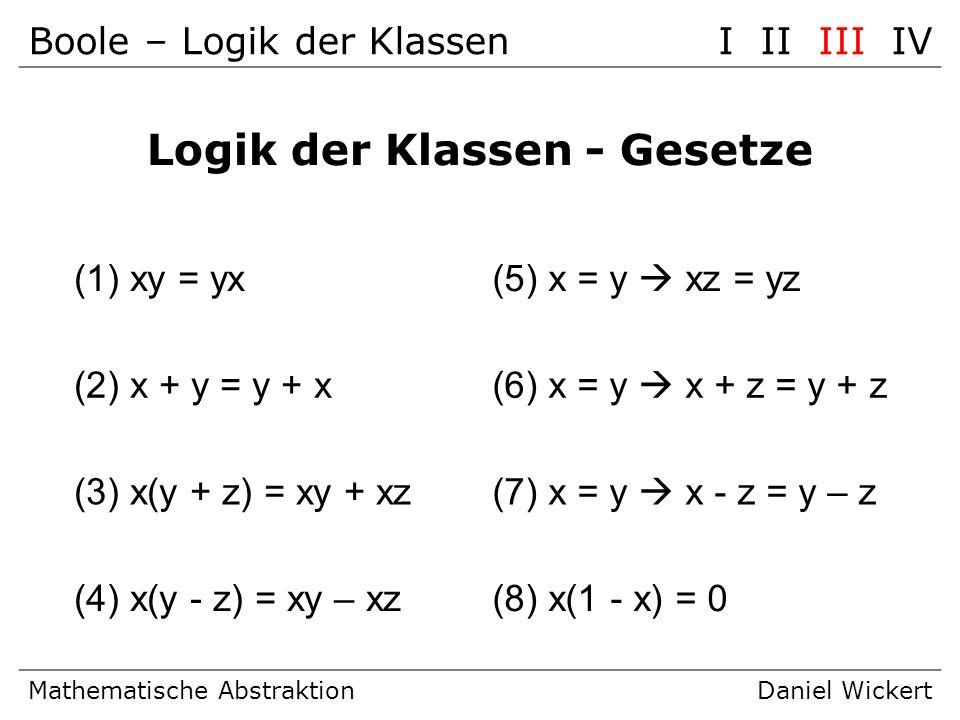 Boole – Logik der KlassenI II III IV Mathematische AbstraktionDaniel Wickert Logik der Klassen - Gesetze (1) xy = yx(5) x = y xz = yz (2) x + y = y +