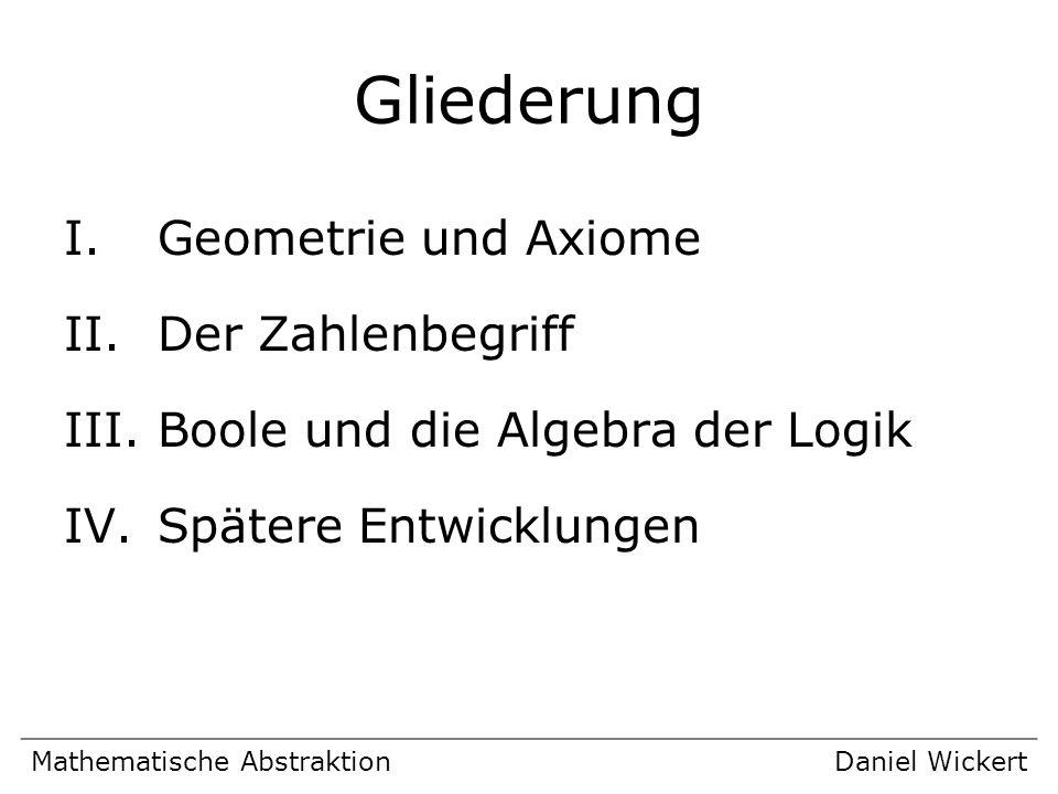 Gliederung I.Geometrie und Axiome II.Der Zahlenbegriff III.Boole und die Algebra der Logik IV.Spätere Entwicklungen Mathematische AbstraktionDaniel Wi