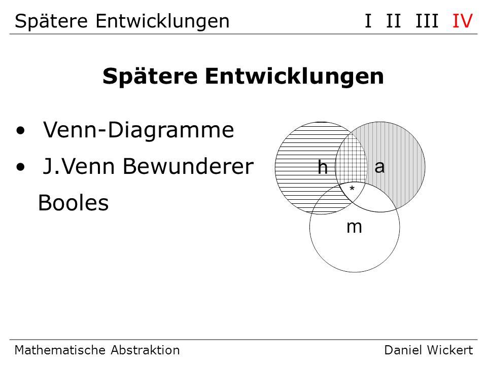 Spätere EntwicklungenI II III IV Mathematische AbstraktionDaniel Wickert Spätere Entwicklungen Venn-Diagramme J.Venn Bewunderer Booles