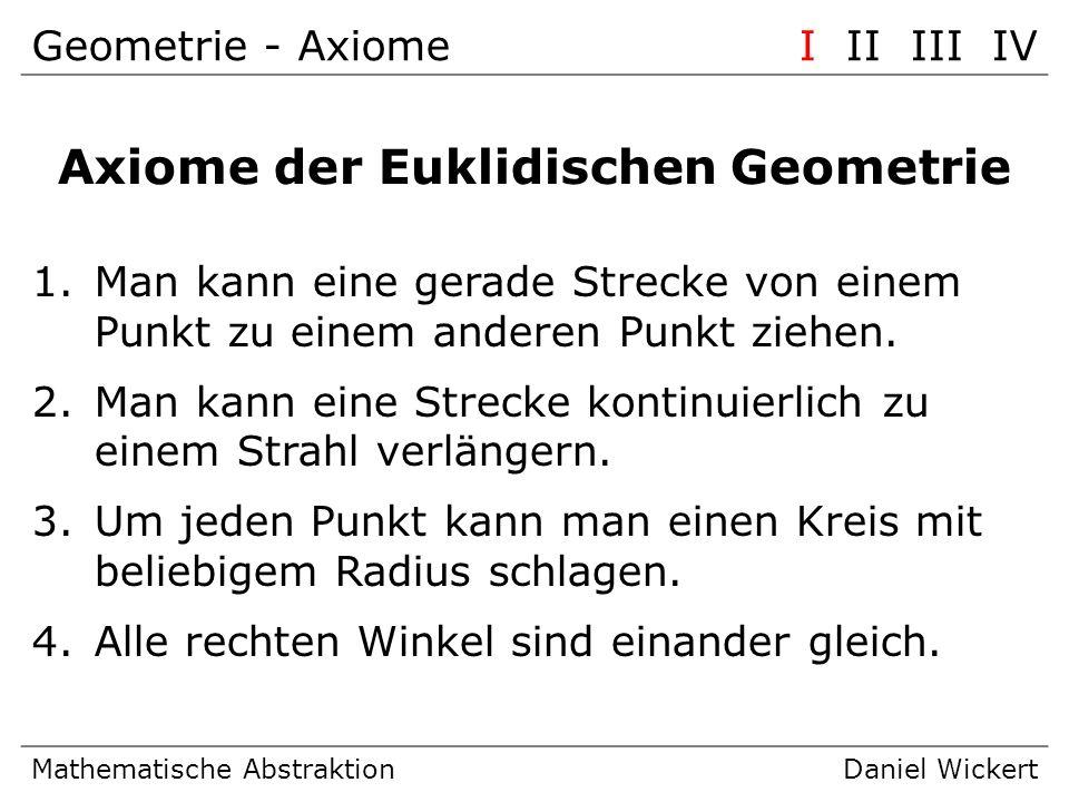 Geometrie - AxiomeI II III IV Mathematische AbstraktionDaniel Wickert Parallelenaxiom 5.