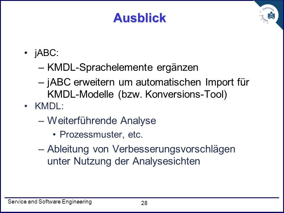 Service and Software Engineering 28 Ausblick jABC: –KMDL-Sprachelemente ergänzen –jABC erweitern um automatischen Import für KMDL-Modelle (bzw. Konver