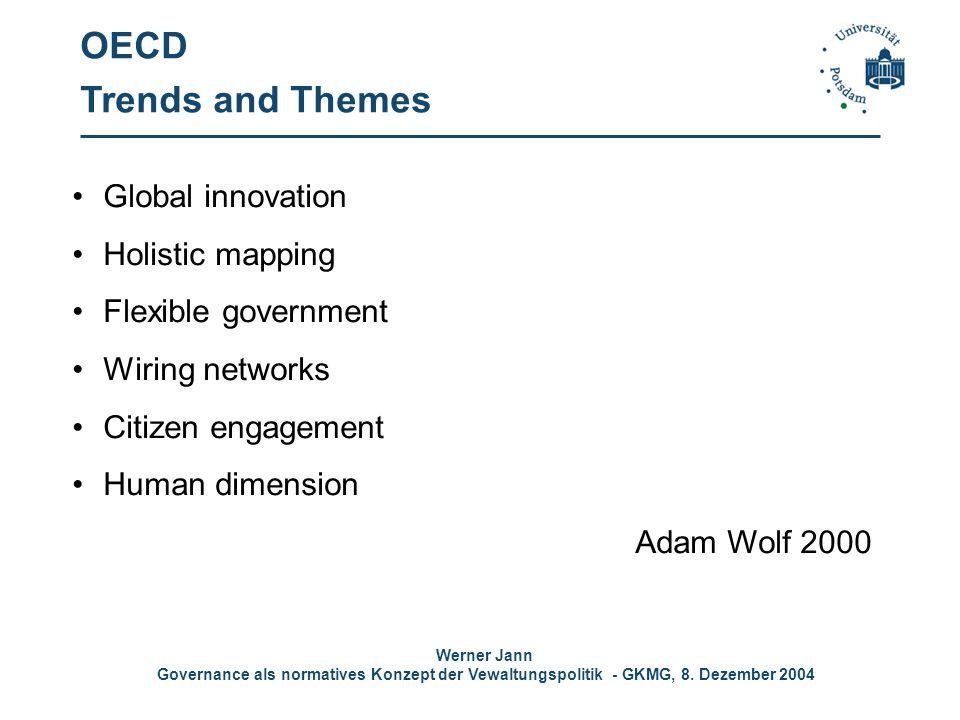 Werner Jann Governance als normatives Konzept der Vewaltungspolitik - GKMG, 8. Dezember 2004 OECD Trends and Themes Global innovation Holistic mapping