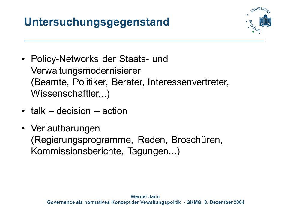 Werner Jann Governance als normatives Konzept der Vewaltungspolitik - GKMG, 8. Dezember 2004 Untersuchungsgegenstand Policy-Networks der Staats- und V