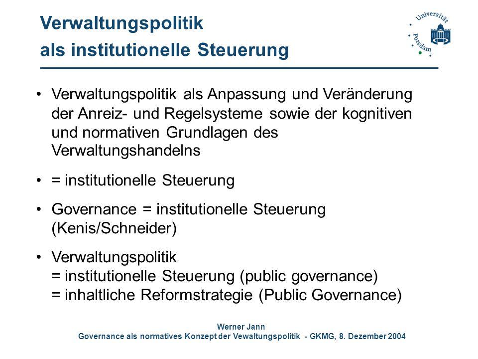 Werner Jann Governance als normatives Konzept der Vewaltungspolitik - GKMG, 8. Dezember 2004 Verwaltungspolitik als institutionelle Steuerung Verwaltu