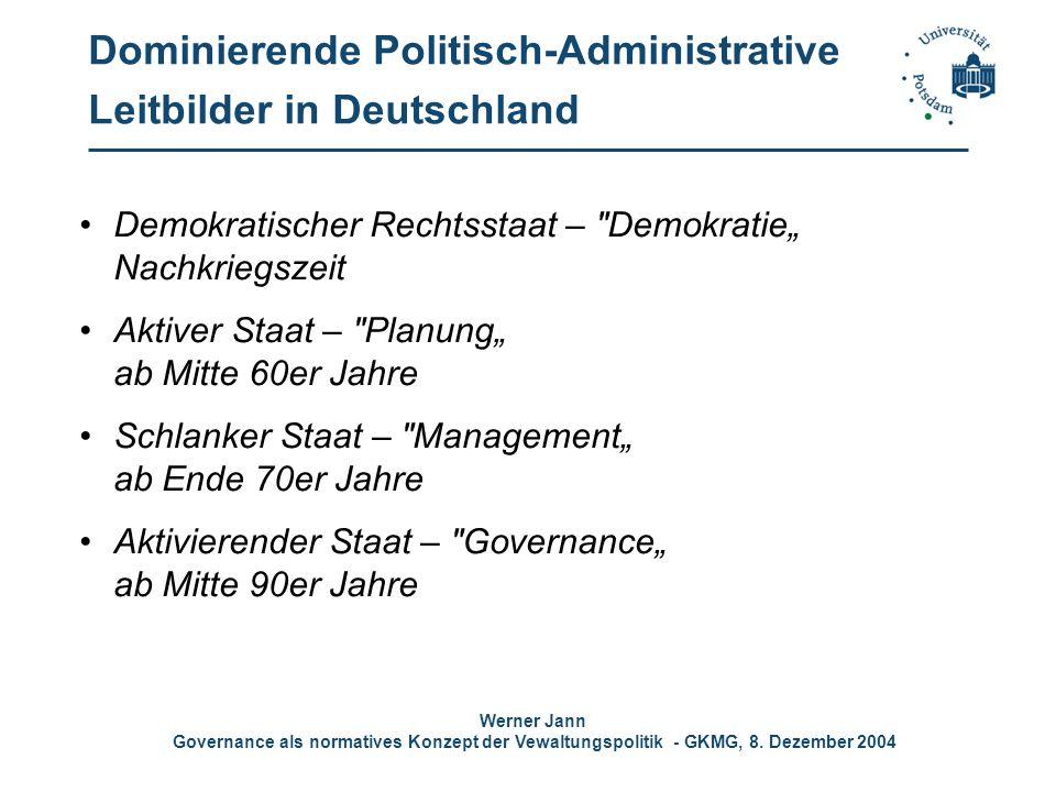 Werner Jann Governance als normatives Konzept der Vewaltungspolitik - GKMG, 8. Dezember 2004 Dominierende Politisch-Administrative Leitbilder in Deuts