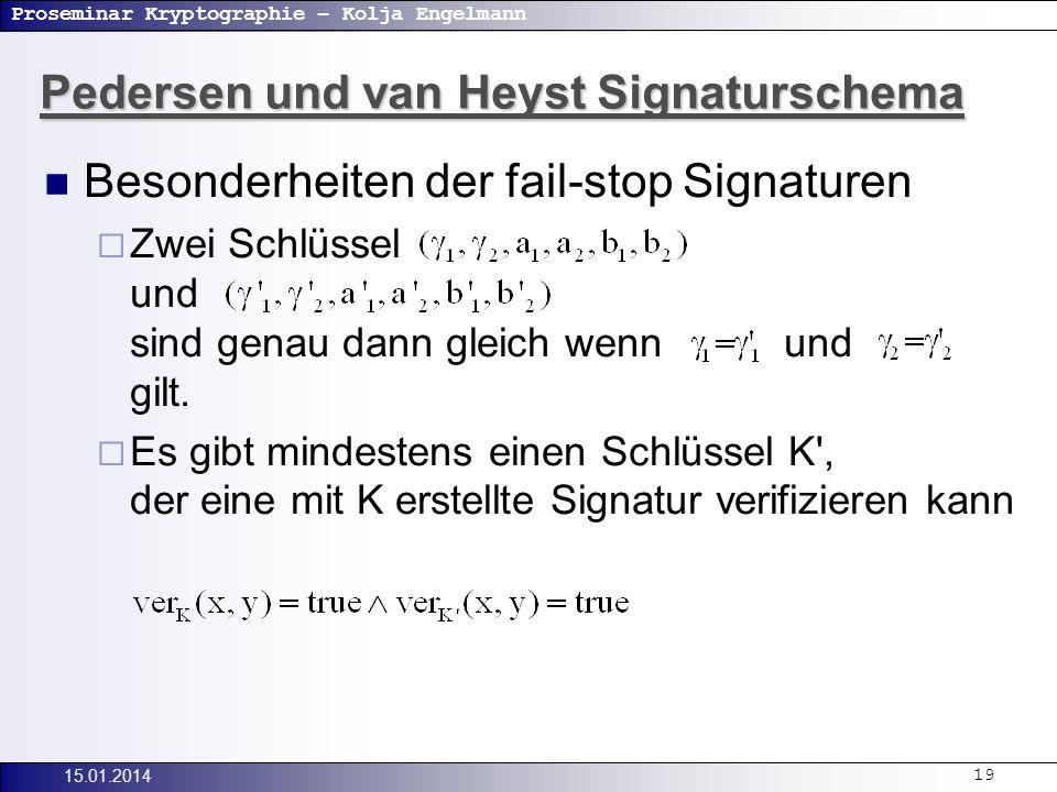 Proseminar Kryptographie – Kolja Engelmann 15.01.201419 Besonderheiten der fail-stop Signaturen Zwei Schlüssel und sind genau dann gleich wenn und gilt.