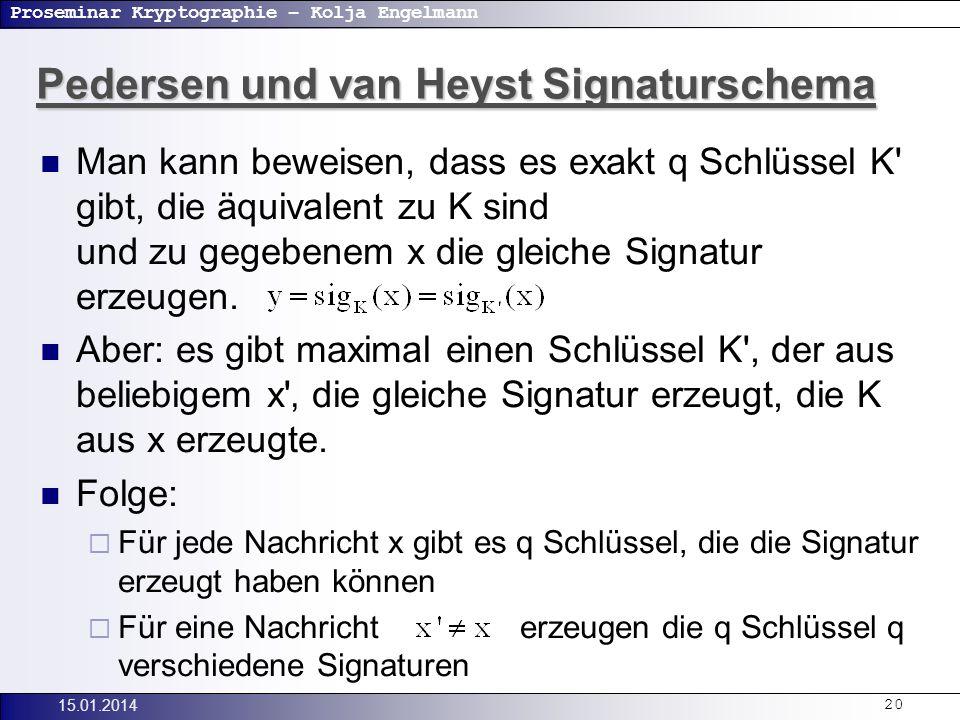 Proseminar Kryptographie – Kolja Engelmann 15.01.201420 Man kann beweisen, dass es exakt q Schlüssel K gibt, die äquivalent zu K sind und zu gegebenem x die gleiche Signatur erzeugen.
