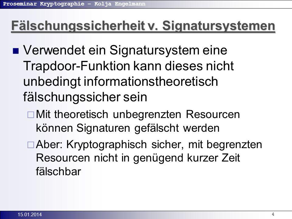 Proseminar Kryptographie – Kolja Engelmann 15.01.20145 Beweisbar sichere Signatursysteme Ziel: beweisbar sicheres Signatursystem Aufwand der Problemlösung soll auf der Komplexität eines bekannten Problems beruhen.