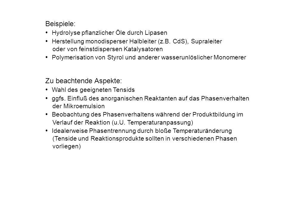 Beispiele: Hydrolyse pflanzlicher Öle durch Lipasen Herstellung monodisperser Halbleiter (z.B. CdS), Supraleiter oder von feinstdispersen Katalysatore