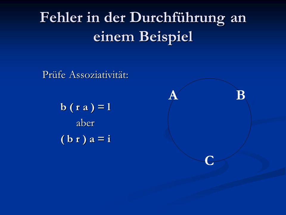 Fehler in der Durchführung an einem Beispiel Prüfe Assoziativität: b ( r a ) = l aber ( b r ) a = i AB C