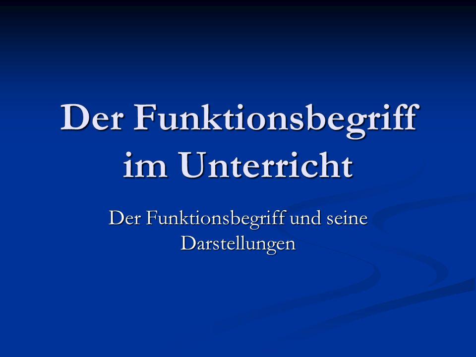 Der Funktionsbegriff im Unterricht Der Funktionsbegriff und seine Darstellungen