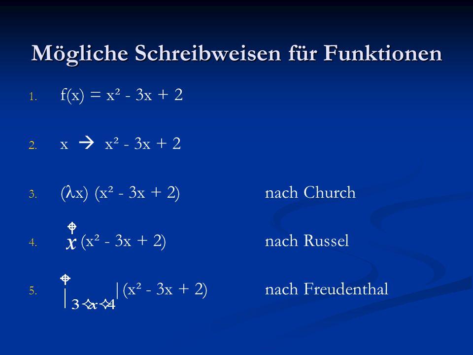 Mögliche Schreibweisen für Funktionen 1. 1. f(x) = x² - 3x + 2 2. 2. x x² - 3x + 2 3. 3. ( l x) (x² - 3x + 2)nach Church 4. 4. (x² - 3x + 2)nach Russe