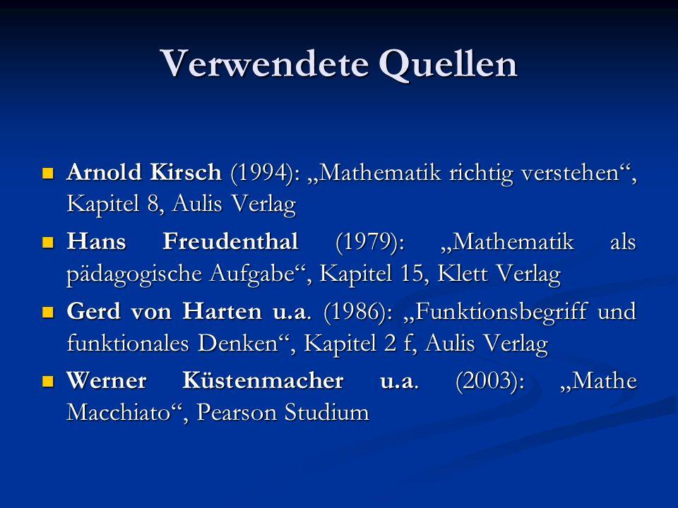 Verwendete Quellen Arnold Kirsch (1994): Mathematik richtig verstehen, Kapitel 8, Aulis Verlag Arnold Kirsch (1994): Mathematik richtig verstehen, Kap