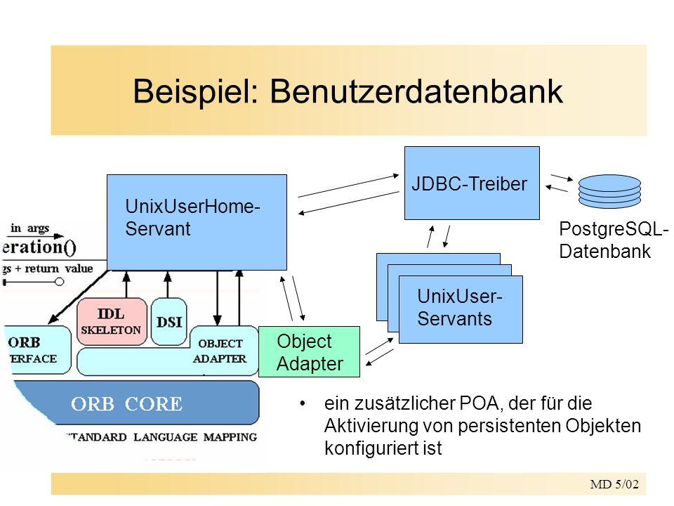 MD 5/02 Beispiel: Benutzerdatenbank UnixUserHome- Servant PostgreSQL- Datenbank JDBC-Treiber UnixUser- Servants Object Adapter ein zusätzlicher POA, der für die Aktivierung von persistenten Objekten konfiguriert ist