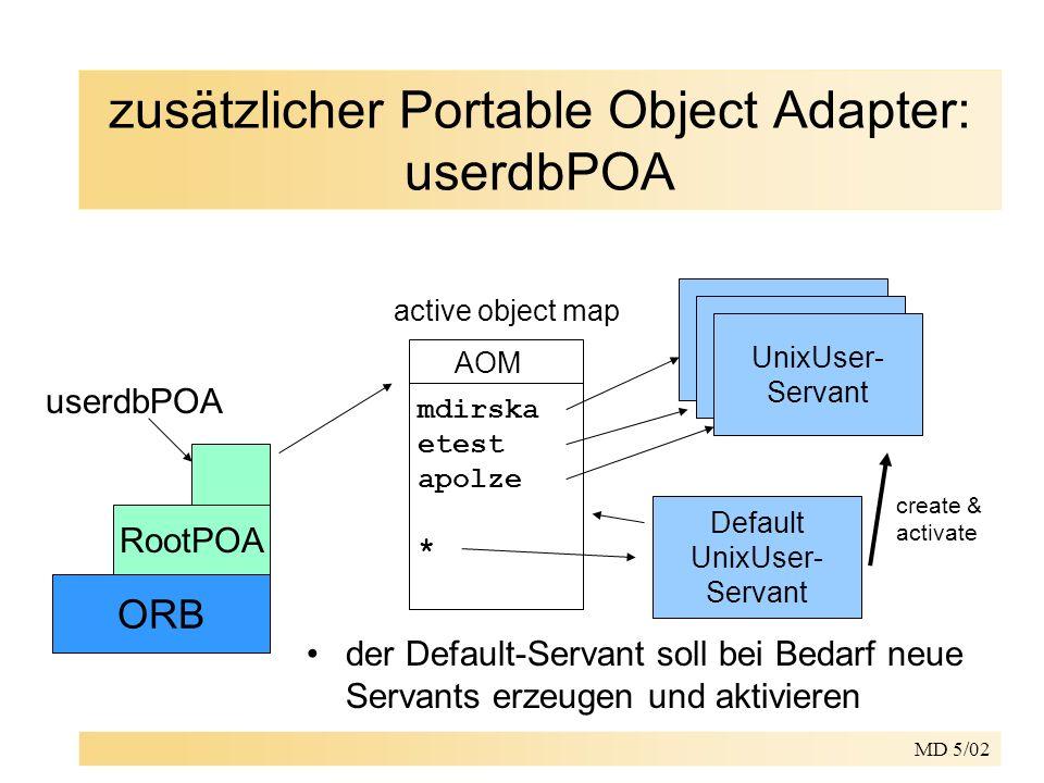MD 5/02 zusätzlicher Portable Object Adapter: userdbPOA ORB RootPOA userdbPOA AOM active object map mdirska etest apolze * UnixUser- Servant UnixUser-