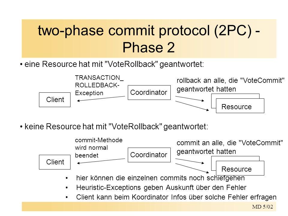 MD 5/02 two-phase commit protocol (2PC) - Phase 2 Client Coordinator TRANSACTION_ ROLLEDBACK- Exception rollback an alle, die VoteCommit geantwortet hatten Resource eine Resource hat mit VoteRollback geantwortet: Client Coordinator commit-Methode wird normal beendet commit an alle, die VoteCommit geantwortet hatten Resource keine Resource hat mit VoteRollback geantwortet: hier können die einzelnen commits noch schiefgehen Heuristic-Exceptions geben Auskunft über den Fehler Client kann beim Koordinator Infos über solche Fehler erfragen