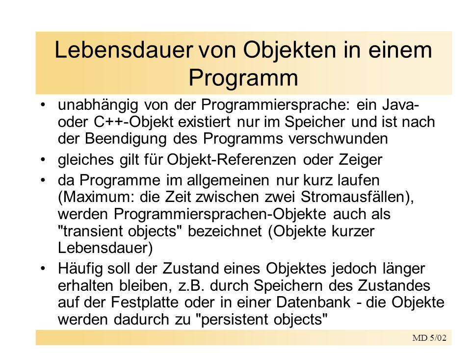 MD 5/02 Lebensdauer von Objekten in einem Programm unabhängig von der Programmiersprache: ein Java- oder C++-Objekt existiert nur im Speicher und ist