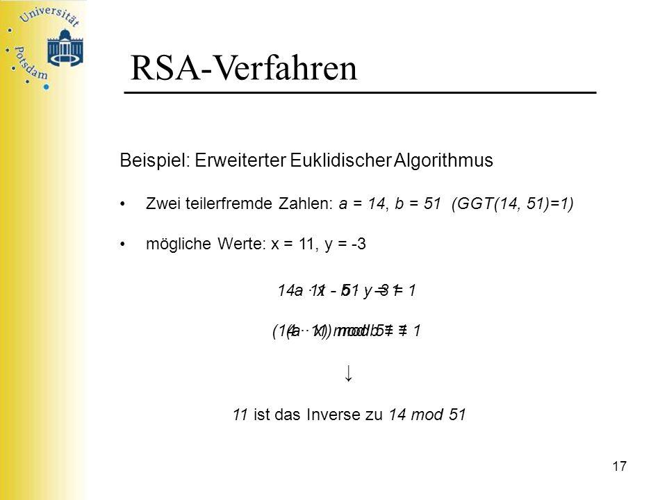 17 RSA-Verfahren Beispiel: Erweiterter Euklidischer Algorithmus Zwei teilerfremde Zahlen: a = 14, b = 51 (GGT(14, 51)=1) mögliche Werte: x = 11, y = -