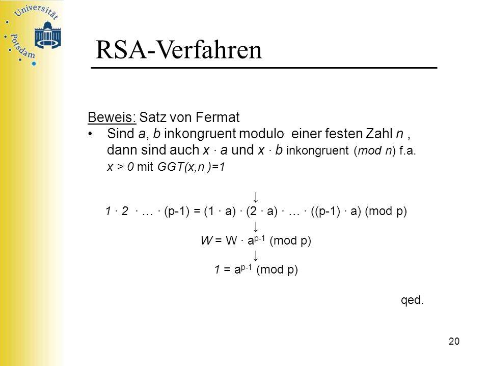 20 RSA-Verfahren Beweis: Satz von Fermat Sind a, b inkongruent modulo einer festen Zahl n, dann sind auch x a und x b inkongruent (mod n) f.a. x > 0 m