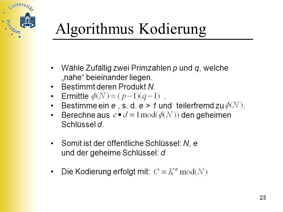 23 Algorithmus Kodierung Wähle Zufällig zwei Primzahlen p und q, welche nahe beieinander liegen. Bestimmt deren Produkt N. Ermittle. Bestimme ein e, s