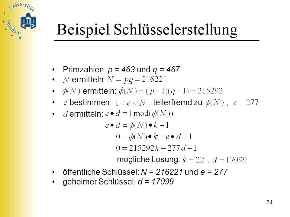 24 Beispiel Schlüsselerstellung Primzahlen: p = 463 und q = 467 ermitteln: bestimmen:, teilerfremd zu, ermitteln: mögliche Lösung:, öffentliche Schlüs