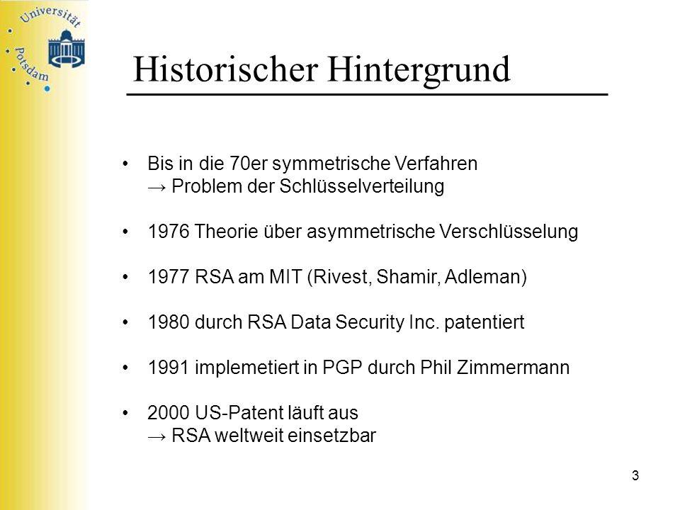 14 RSA-Verfahren 1977 entdeckt von Rivest, Shamir und Adleman Verfahren zum Erzeugen von Einweg-Funktionen basiert insbesondere auf: Euklidischer Algorithmus (kleinen) Satz von Fermat kein Algorithmus zur schnellen Primfaktorzerlegung bekannt