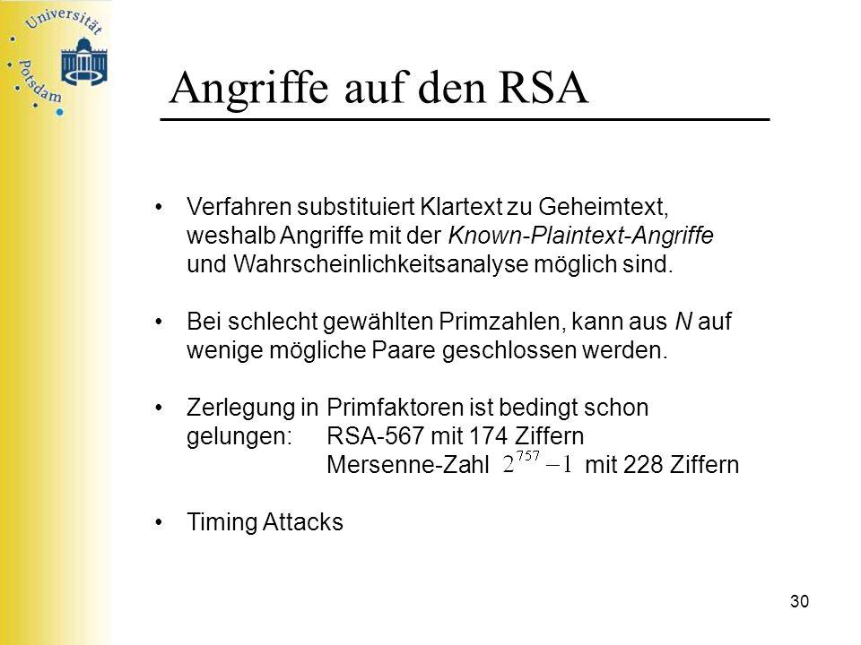30 Angriffe auf den RSA Verfahren substituiert Klartext zu Geheimtext, weshalb Angriffe mit der Known-Plaintext-Angriffe und Wahrscheinlichkeitsanalys