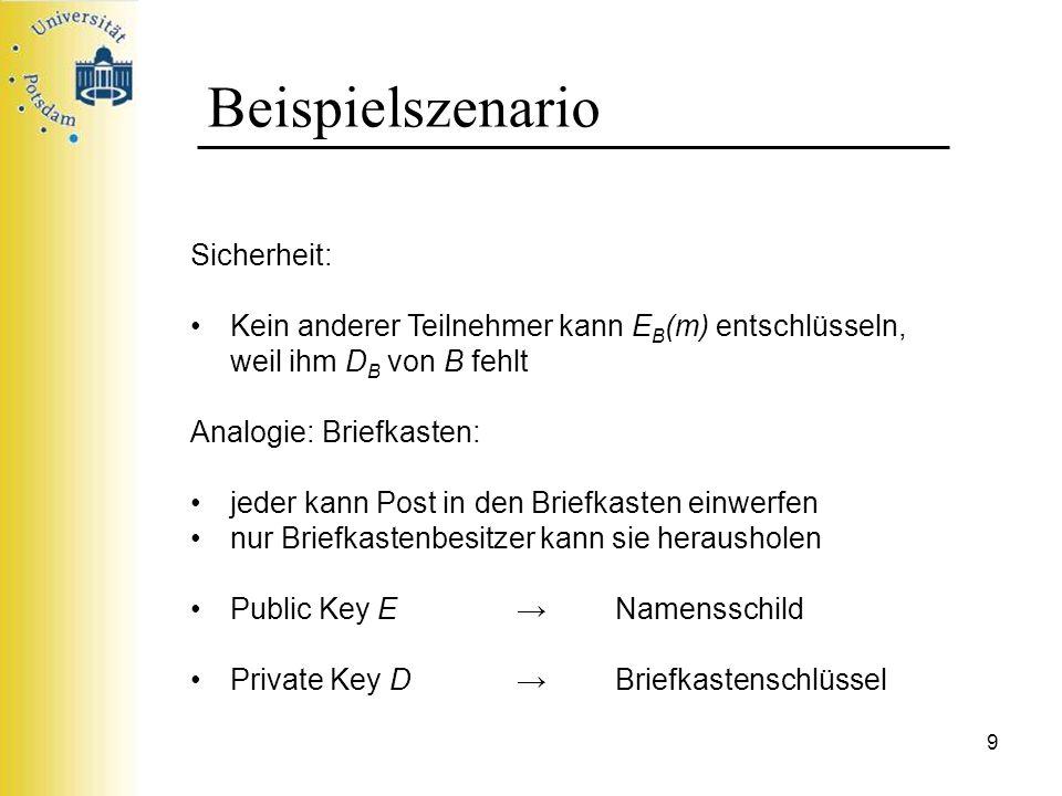 9 Beispielszenario Sicherheit: Kein anderer Teilnehmer kann E B (m) entschlüsseln, weil ihm D B von B fehlt Analogie: Briefkasten: jeder kann Post in