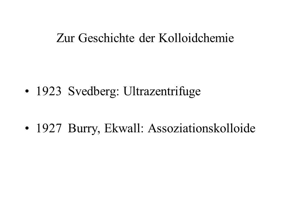 Zur Geschichte der Kolloidchemie 1923 Svedberg: Ultrazentrifuge 1927 Burry, Ekwall: Assoziationskolloide
